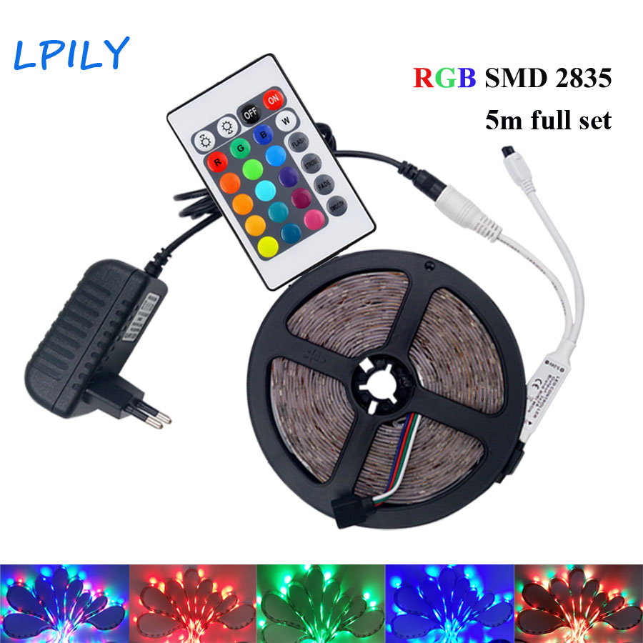 Aliexpress - RGB LED Strip Waterproof 5m, 12V DC, Remote Controller and Power Supply