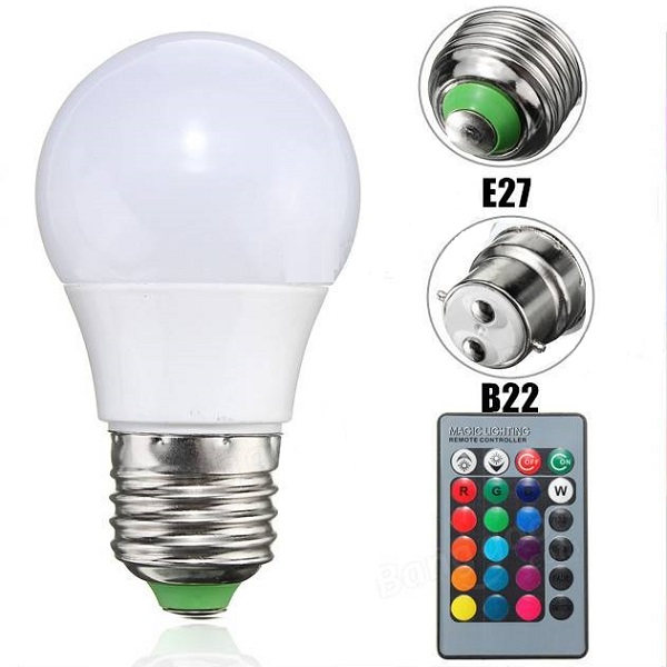 Banggood - 3W E27/B22 Dimmable RGB LED Lamp + 24 Key IR Remote AC 85-265V