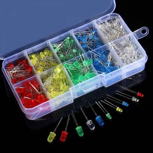 375pcs - 3mm 5mm LEDs Kit with Storage Box (Red, Yellow, Green, Blue, and White)
