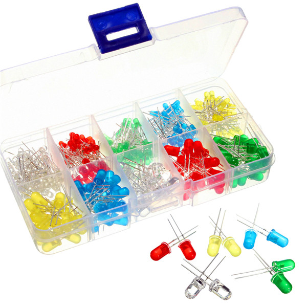 Banggood - 375pcs - 3mm 5mm LEDs Kit with Storage Box (Red, Yellow, Green, Blue, and White)