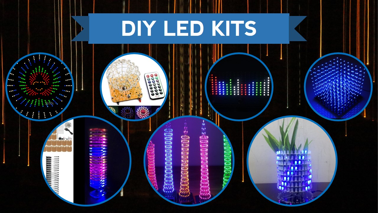 LED Colorful Light Cube Electronic Tower DIY Kits Music Spectrum Remote Control