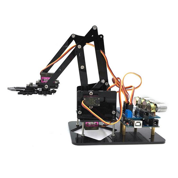 Robot Arm 4 Axis Acrylic Rotating Mechanical Robot Arm With Arduino
