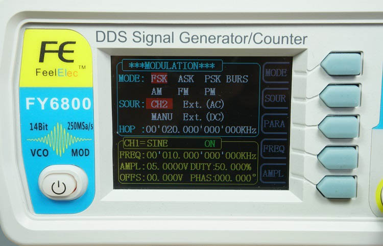 FY6800 2-Channel DDS Arbitrary Waveform Signal Generator Modulation Menu