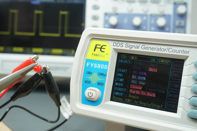 FY6800 2-Channel DDS Arbitrary Waveform Signal Generator Sweep test