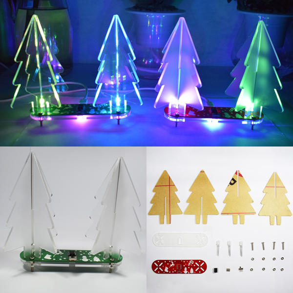 DIY Kit - Full Color Changing LED Acrylic 3D Christmas Tree Electronic Kit