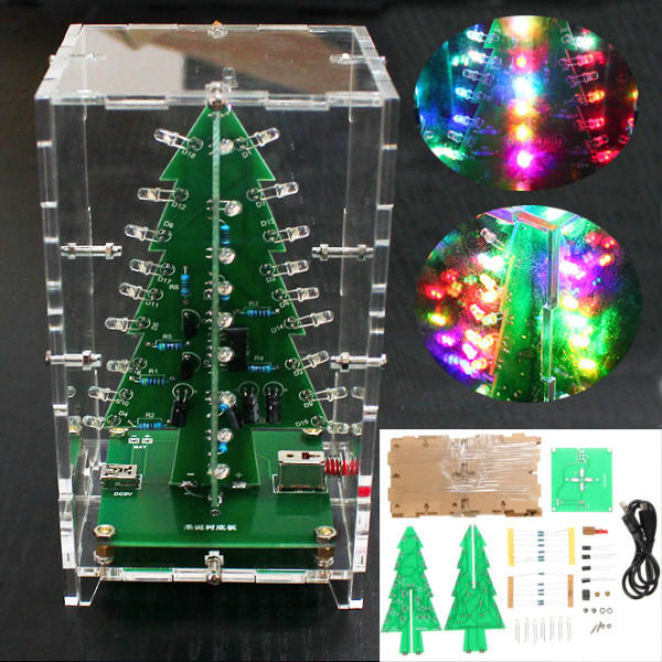 DIY Kit - Christmas Tree RGB Colorful LED Flash Kit with Transparent Cover