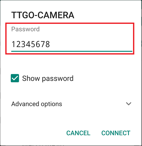 ESP32 TTGO-CAMERA Wi-Fi AP Access Point connection password